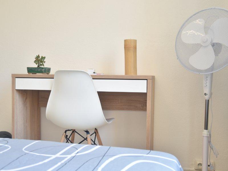 Chambre simple meublé, avec un bureau de travail, une…